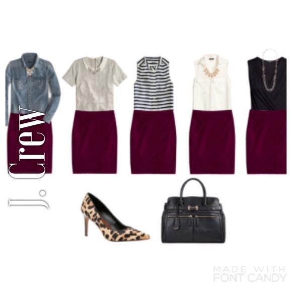 89776b170e J. Crew Skirts | J Crew Wine Burgundy Wool No 2 Pencil Skirt | Poshmark